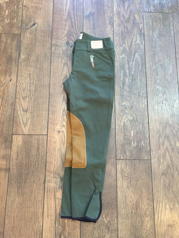 TAILORED SPORTSMAN TROPHY LOW RISE FZ LODEN GREEN WITH TAN KNEE PATCH