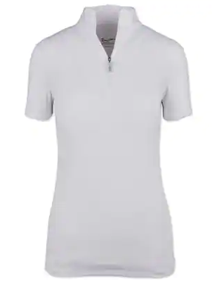 Tailored Sportsman Icefil Sun Shirt Short Sleeve - White with White Zipper