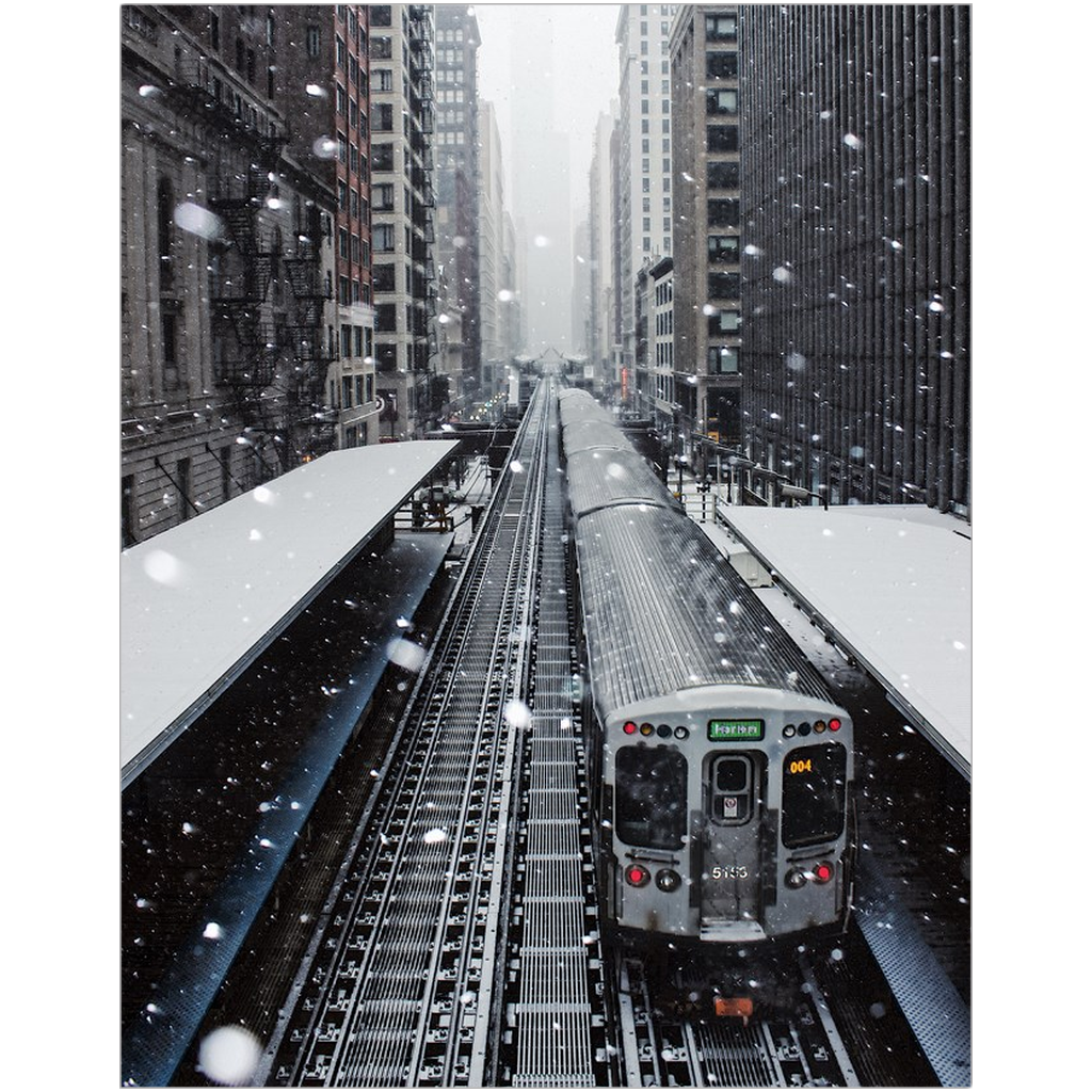 Snowy Green Line Train