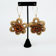 Load image into Gallery viewer, Burlap Flower Earring