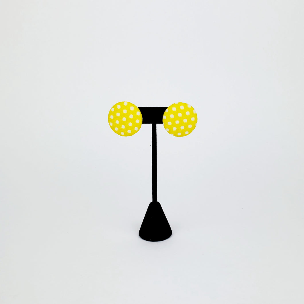 Yellow Polka Dot Button Earring