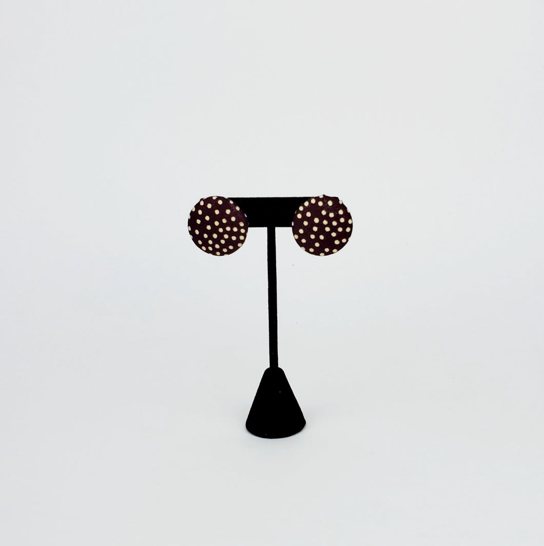 Brown Polka Dot Button Earring