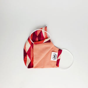 Fabric Face Mask- Two-tone Pink Triangle Print