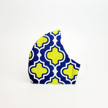 Load image into Gallery viewer, Fabric Face Mask- Blue & Yellow Medallion Print