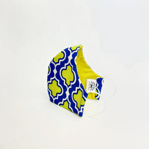 Fabric Face Mask- Blue & Yellow Medallion Print
