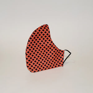 Fabric Face Mask- Peach Diamond Print