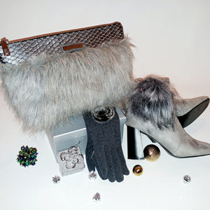 Tiffany Fur Shoulder Bag-Silver