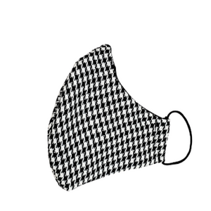 Wool Face Mask: Black & White Houndstooth