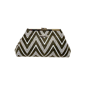 Jazz Clasp- Grey & White Chevron Clutch