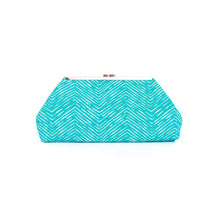 Load image into Gallery viewer, Jazz Clasp - Aquamarine Chevron Clutch