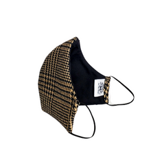 Load image into Gallery viewer, Wool Face Mask: Black & Brown Houndstooth