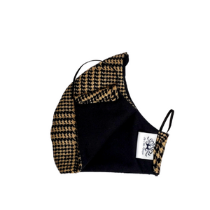 Wool Face Mask: Black & Brown Houndstooth