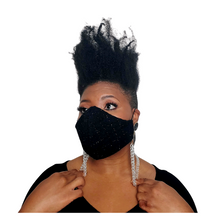 Load image into Gallery viewer, Wool Face Mask: Black on Black Plaid