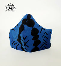 Load image into Gallery viewer, Fabric Face Mask- Blue Tribal Print