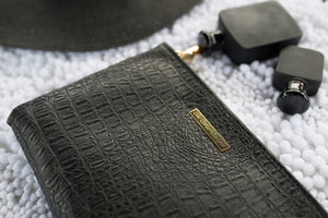 Black Leather Zip Clutch