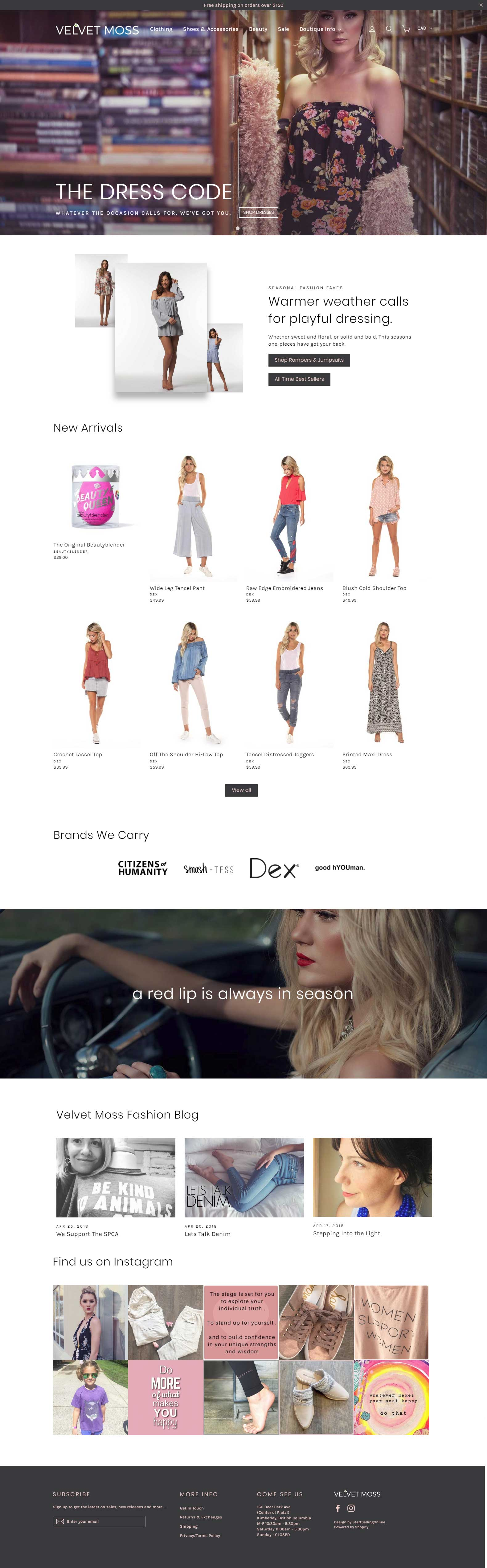 velvet moss website design shopify