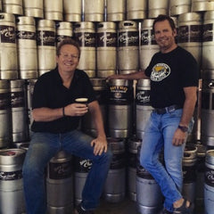 Chris Chantler and Craig Arseneau of Vail Mountain Coffee stand with their kegs of Nitro Cold Brew Coffee