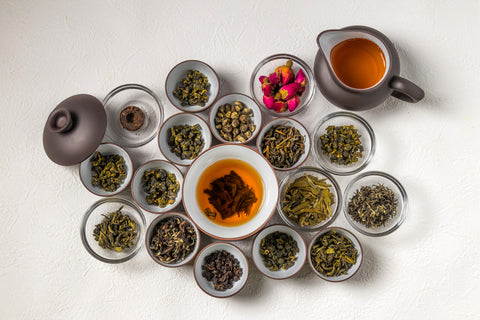 A selection of tea offered by Vail Mountain Coffee & Tea as they explain the history of tea in different cultures.