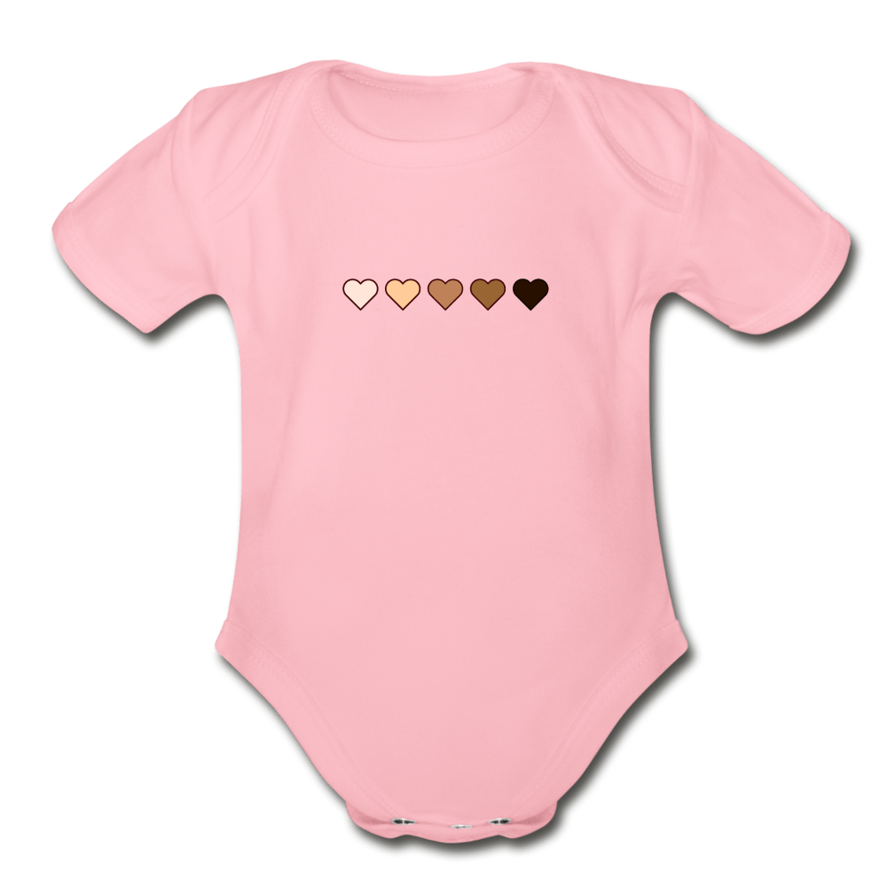 U Hearts Organic Short Sleeve Baby Bodysuit - Fitted Clothing Company