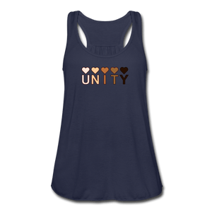 Unity Hearts Women's Flowy Tank Top by Bella - navy
