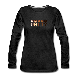 Unity Hearts Women's Premium Long Sleeve T-Shirt - charcoal gray