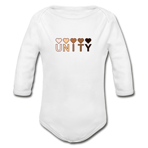 Unity Hearts Organic Long Sleeve Baby Onesie - white