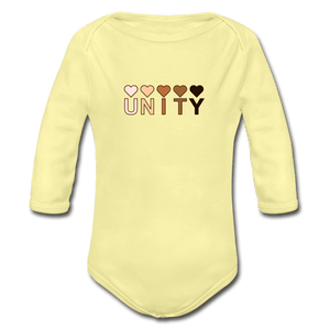 Unity Hearts Organic Long Sleeve Baby Onesie - washed yellow