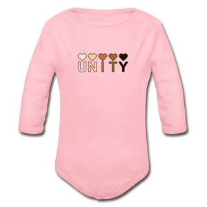 Unity Hearts Organic Long Sleeve Baby Onesie - light pink