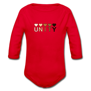 Unity Hearts Organic Long Sleeve Baby Onesie - red