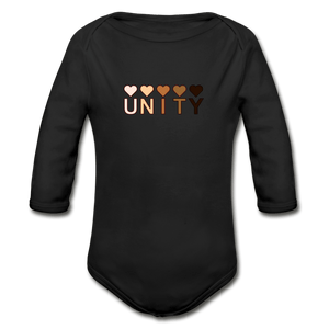 Unity Hearts Organic Long Sleeve Baby Onesie - black