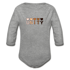 Unity Hearts Organic Long Sleeve Baby Onesie - heather gray