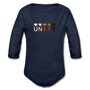 Unity Hearts Organic Long Sleeve Baby Onesie - dark navy