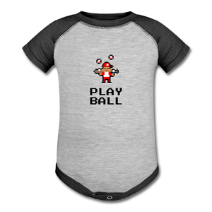 Play Ball Baseball Baby Onesie - heather gray/charcoal