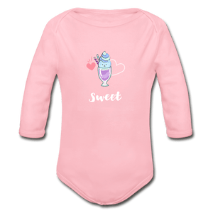 Sweet Organic Long Sleeve Baby Onesie - light pink