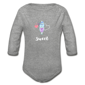 Sweet Organic Long Sleeve Baby Onesie - heather gray