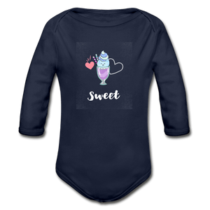 Sweet Organic Long Sleeve Baby Onesie - dark navy