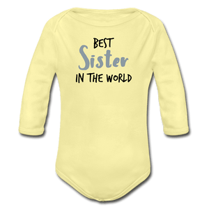 Best Sister Organic Long Sleeve Baby Onesie - washed yellow