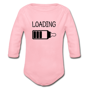 Loading Organic Long Sleeve Baby Onesie - light pink