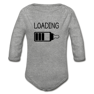 Loading Organic Long Sleeve Baby Onesie - heather gray