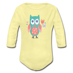 Owl Organic Long Sleeve Baby Onesie - washed yellow