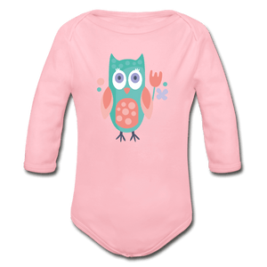 Owl Organic Long Sleeve Baby Onesie - light pink