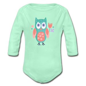 Owl Organic Long Sleeve Baby Onesie - light mint