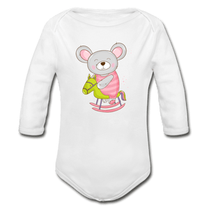 Mouse Organic Long Sleeve Baby Onesie - white