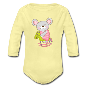 Mouse Organic Long Sleeve Baby Onesie - washed yellow