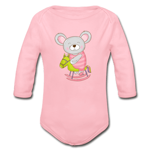 Mouse Organic Long Sleeve Baby Onesie - light pink