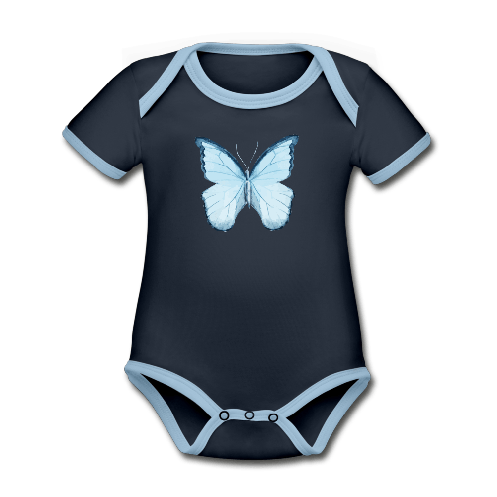 Butterfly Organic Contrast Short Sleeve Baby Onesie - navy/sky