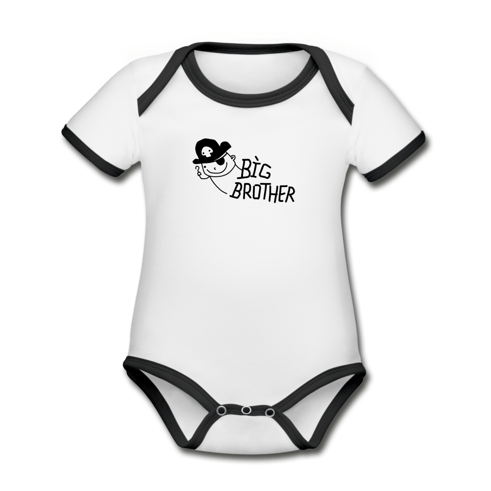 Big Brother Organic Contrast Short Sleeve Baby Onesie - white/black