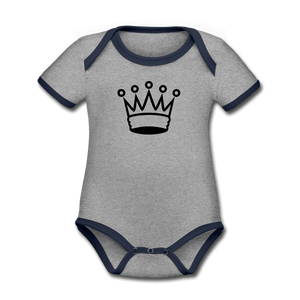 Crown Organic Contrast Short Sleeve Baby Onesie - heather gray/navy