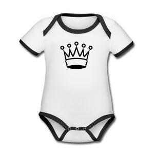 Crown Organic Contrast Short Sleeve Baby Onesie - white/black