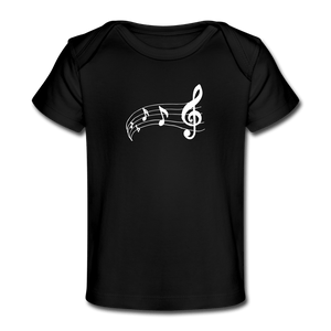 Music Note Baby Organic T-Shirt - black